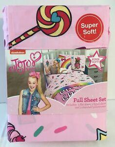JoJo Siwa Girls Full Bedding Sheet Set Bows Lollipops Rainbow Ice Cream Cupcake