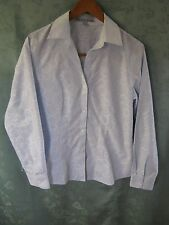 Foxcroft Size 8 No Iron Fitted Blouse Bubbly Print With Stripes