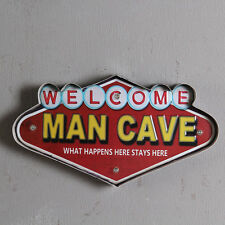 Welcome MAN CAVE Vintage Metal Tin Signs Bar LED Light Pub Bar Shop Wall Decor