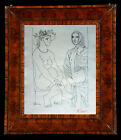 Stunning Pen Drawing Of A Beautiful Seated Nudes signed ~ Picasso
