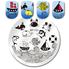 BORN PRETTY Round Nail Art Stamp Template Dolphin Fish Design Image Plate BP-133