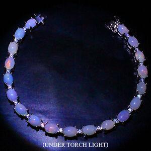 Bracelet White Opal Genuine Natural Gems Solid Sterling Silver Cabochon 7 Inch