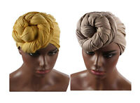 2 PACK Turban Stretch COTTON Head Wrap Hair Scarf Tie African MULTICOLORED