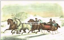 CURRIER and IVES The Sleigh Race 1952 Print Winter Snow Horses