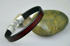 D19 Brown   Quality Leather Bracelet Wristband Genuine Leather Cuff Men's