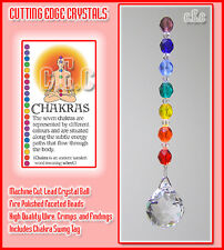 Chakra 20mm Crystal Ball Suncatcher with Coloured Beads