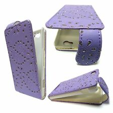CASE FOR SONY XPERIA M GLITTER FLIP LILAC PU LEATHER POUCH PHONE COVER