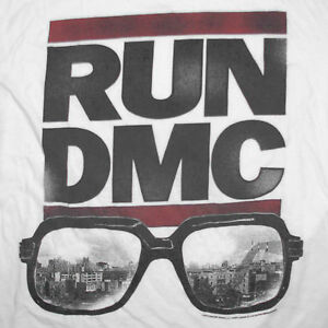 Run DMC Retro T-Shirt XL Distressed Logo Darryl Sunglasses City Rap Hip Hop