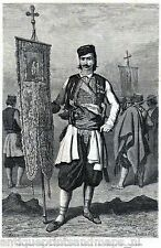 Antique print  Montenegro / portrait pope man church banier  1877