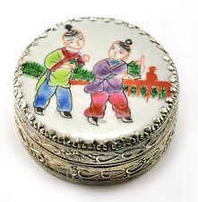 Vintage Chinese Shard Box Tibetan Silver Porcelain Inlay Jewelry Mirror Children