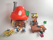 Vintage SMURF LOT Schleich Mushroom House Gargamel's Lab Smurfs 1976 1983 Peyo