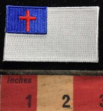 The CHRISTIAN FLAG Patch With The Cross Of Jesus Christ In Red. Christendom 71Y6