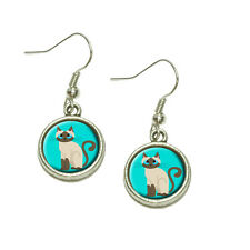 Cute Siamese Cat Dangling Drop Charm Earrings