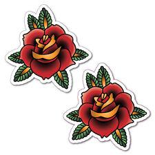 2x Flower Rose Red Orange Sticker Tattoo Art Sailor  #6966LS