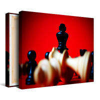 Chess Pieces with Red Background  Framed Canvas Picture - Wall Art Print
