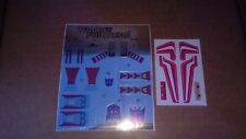 Transformers complete premium quality sticker/decal sheet for G1 Thrust