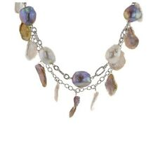"12-15 MM WHITE & LAVENDER CULTURED FRESHWATER PEARL STERLING SILVER 34"" NECKLACE"