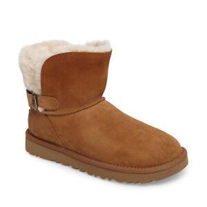 UGG Australia Karel Shearling Suede Leather Chestnut Women's Size 5