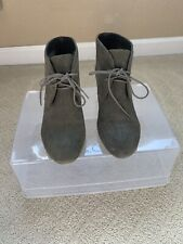 Nine West Womens Suede Wedge Ankle Bootie US 8 M Olive Green Leather Lace Up