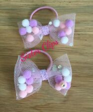 """Set of 2 toddler / pigtail 2"""" bow hair bobbles pink lilac mix pom pom tulle"""