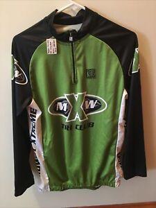 Cycling Jersey Mens Medium Long Sleeve Three pockets on back Bright Green