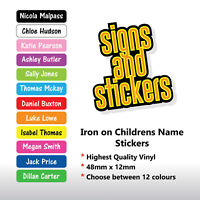 50 PERSONALISED IRON ON NAME TAGS SCHOOL UNIFORM CARE HOME EASY TO APPLY LABELS