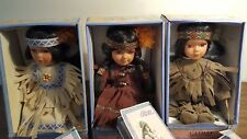 Three Native American Dolls Original Box Cathay Collection Ltd Edition- Coa- Tag