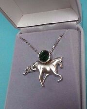 14K GOLD HORSE WITH GREEN STONE PENDANT