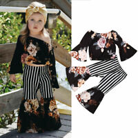US 2PCS Toddler Baby Girls Kid Floral Clothes T-shirt Tops+Long Pants Outfit Set