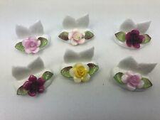 Coffret 6 porte-carte/nom individuels de table barbotine décor roses Coalport