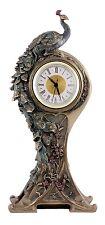 Veronese Bronze Figurine Art Nouveau Peacock Table Clock Gift Home Decor