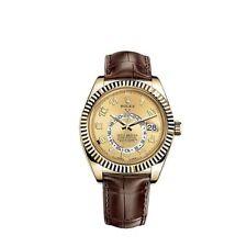 Rolex Sky-Dweller 326138  Yellow Gold Crocodile Skin Automatic Watch