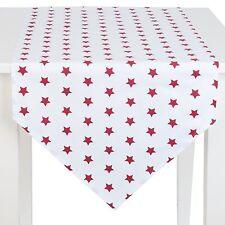 SALE 25 %,CLAYRE & EEF, Tischläufer,STERNE,STERN,Weiß - Rot, 100 % BW, 50x160 cm