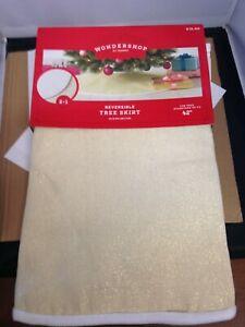 "Wondershop 42"" Reversible Linen Gold Sparkle Christmas Tree Skirt"
