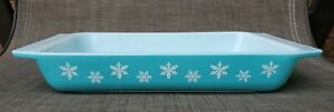 Vintage Pyrex 548-B Turquoise Blue Snowflake Casserole Dish  1 1/4 Qt. L@@K