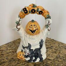 "Vtg Fitz and Floyd Halloween Teapot 8.5"" BOO Jack o Lantern Head Ghost Body 1993"