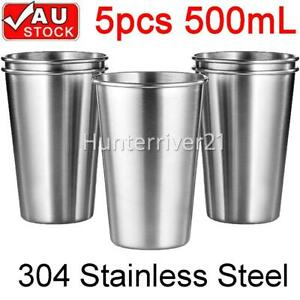 5 Pack Stainless Steel Cup 500ml Coffee Beer Drinking Mug Camping Party Tumbler