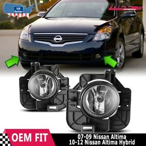 For Nissan Altima 07-09 Factory Replacement Fog Lights + Wiring Kit Clear Lens
