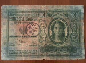 Banconota Timbro  Fiume Da   100 Corone Kronen Austria Ungheria.