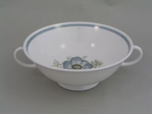 RARE SUSIE COOPER GLEN MIST TWO HANDLED SOUP COUPE, (BLUE SIGNED BACKSTAMP.)