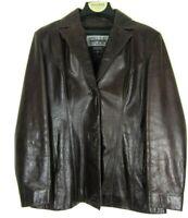 Wilsons PELLE STUDIO Womens Large Brown Soft Leather Button Blazer Jacket Coat