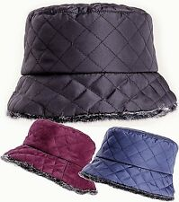 Bush Hat Bucket Quilted Shower proof Rain Winter Ladies Fully Faux Fur Lined