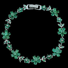 Sterling Silver 925 Genuine Natural Green Emerald Floral Bracelet 7.5 Inches