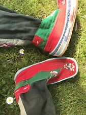 Vintage 70s Himalayan Nepalese Hand Made Embroidered Tribal Boots