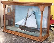 Ancien Diorama de Marine Maquette Bateau Voilier Fin XIXème