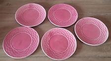 """Vintage Ceramic Japan Pink Basket Weave Design Saucer Tea Party Plates 5 1/4"""""""