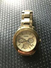 "Women's Fossil ""Stella"" ES2820 Stainless Steel Goldtone Quartz Watch, NEW Btry"