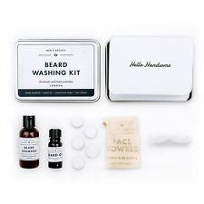 Men's Society - Beard Washing Kit- Beard Shampoo/Beard Oil/Comb/Face Towels