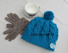 Crochet  HAT Pom Pom  Cables bead Fashion Missy Women Style Handmade Button A18