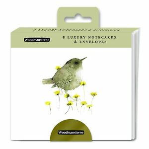 Wren Note Card Wallet - Woodmansterne 8 Illustrated Bird Notelets Made in the UK